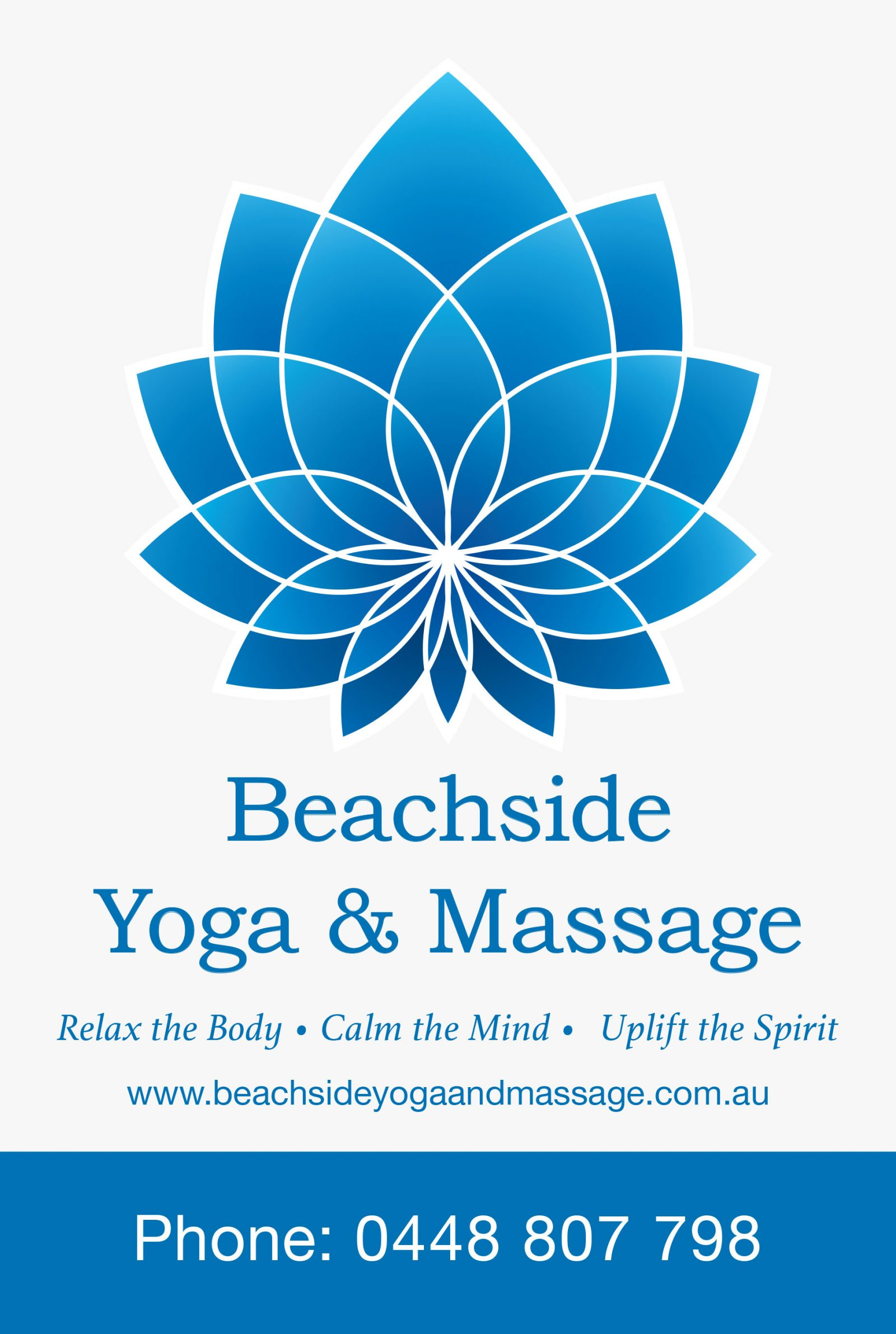 Building signage for Beachside Yoga & Massage, Byron Bay.