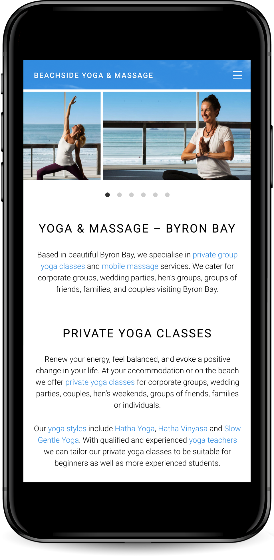 Web design for Beachside Yoga & Massage, Byron Bay - mobile view.
