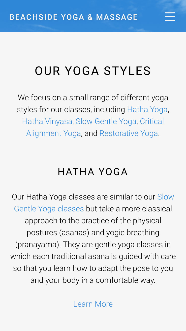Web design for Beachside Yoga and Massage - mobile view 1