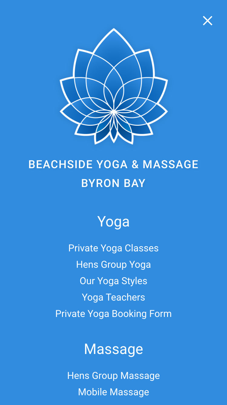 Web design for Beachside Yoga and Massage - mobile view 2