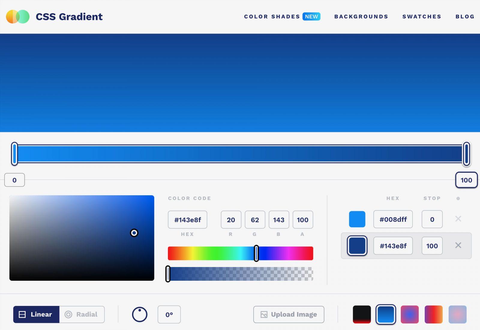 CSS Gradient web development tool