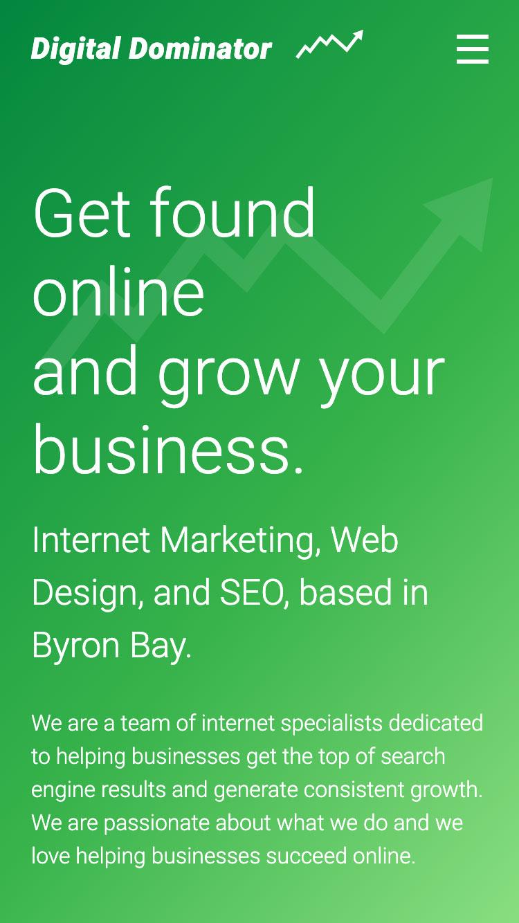 Web design for Digital Dominator - mobile view 1