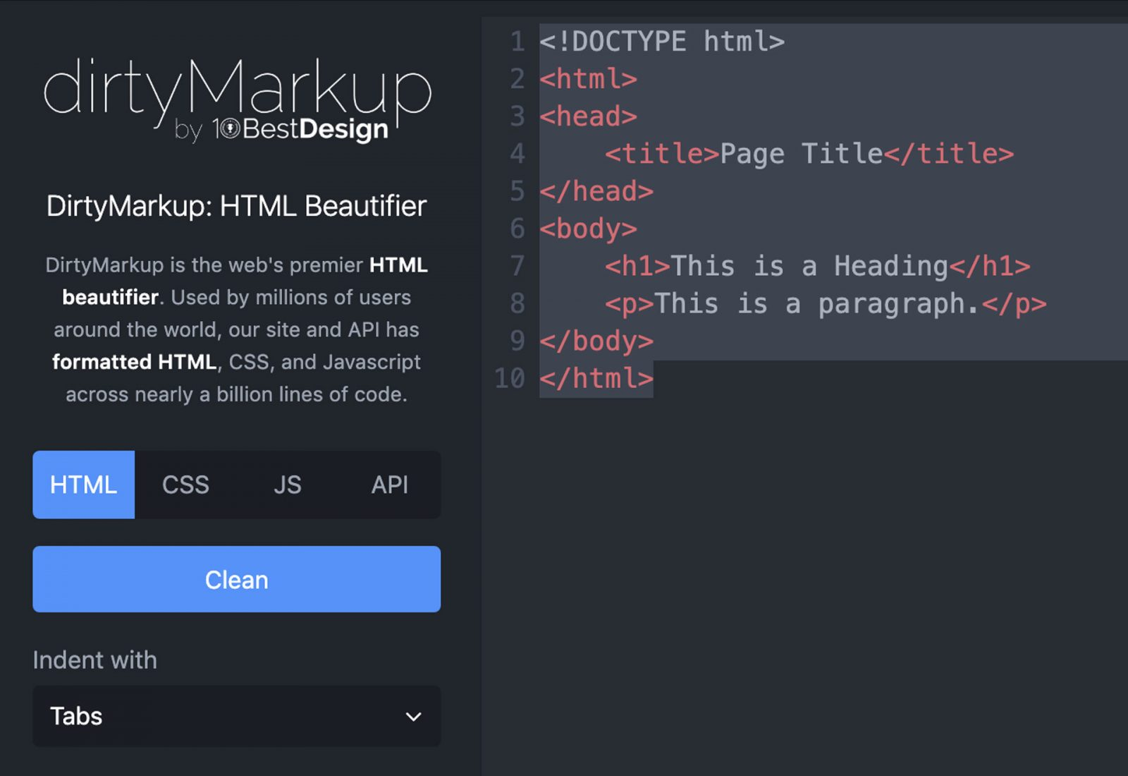Dirty Markup code beautifying tool