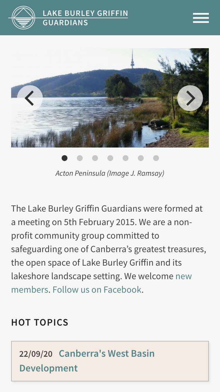 Web design for Lake Burley Griffin Guardians - mobile view 1