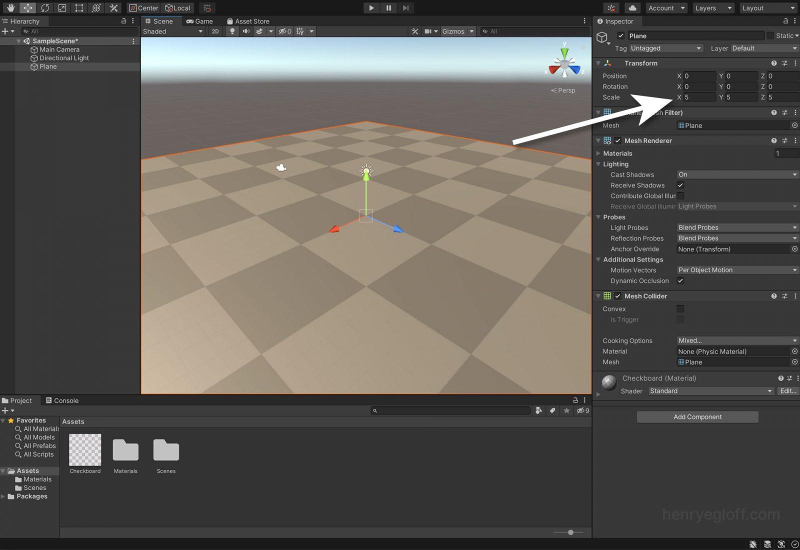 3D plane object in Unity