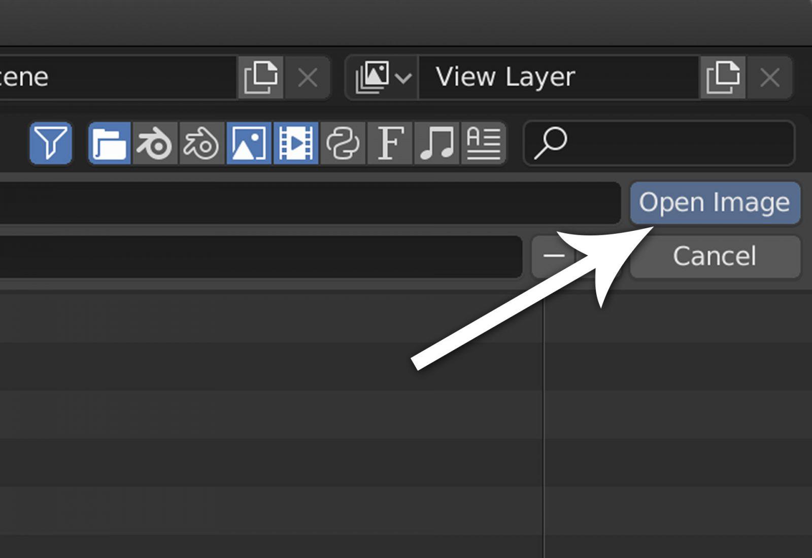 Render a Background Image Using Blender 2.8 - step 6 click open image