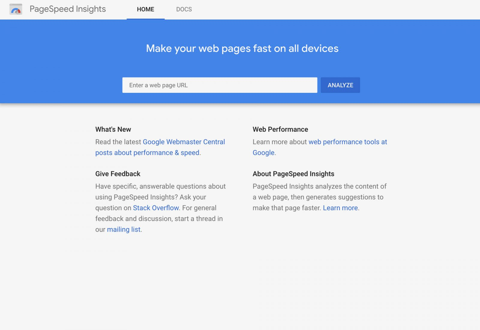 Page Speed Insights web development tool