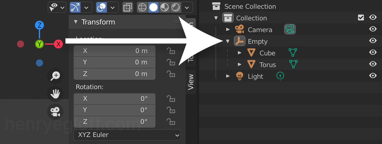 Parented Objects in the Blender Scene Inspector