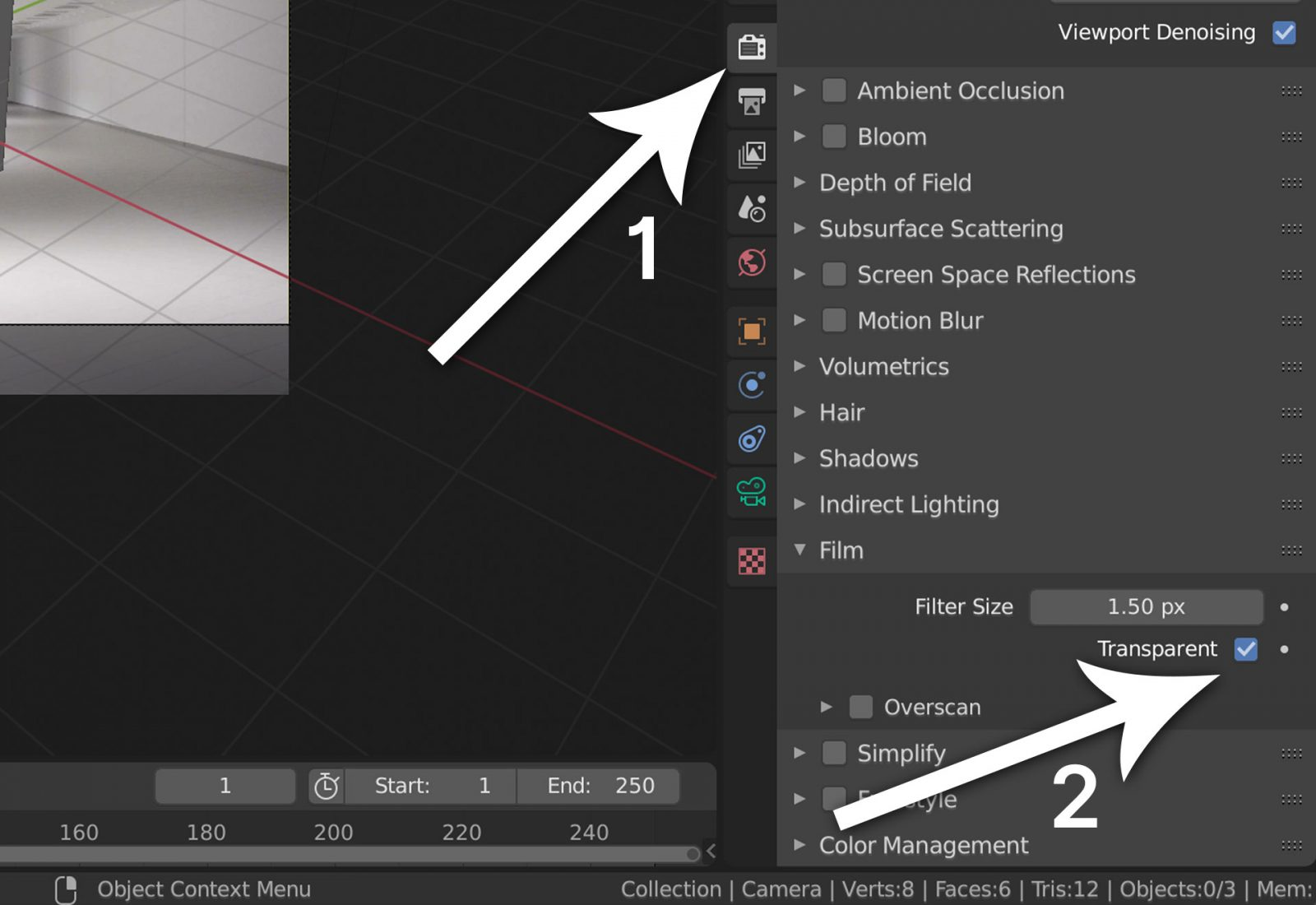 Render a Background Image Using Blender 2.8 - step 17 set render settings to transparent