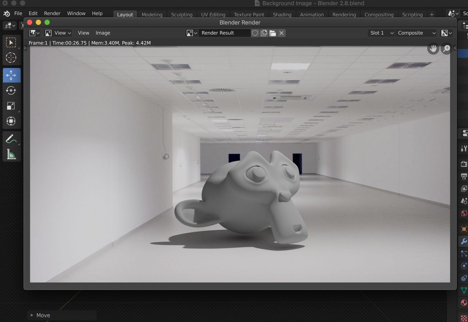 Create Shadow Catcher Object - step 8 example render with 3D object of background image