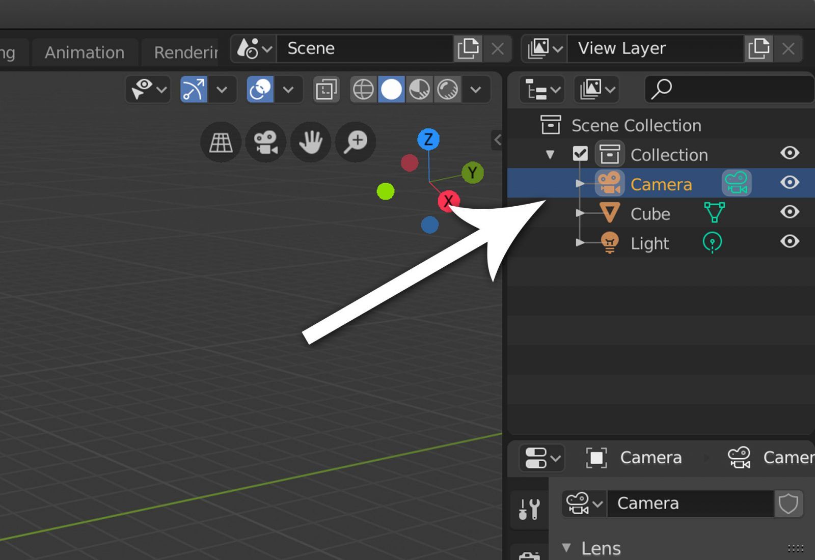 Render a Background Image Using Blender 2.8 - step 1 select camera.