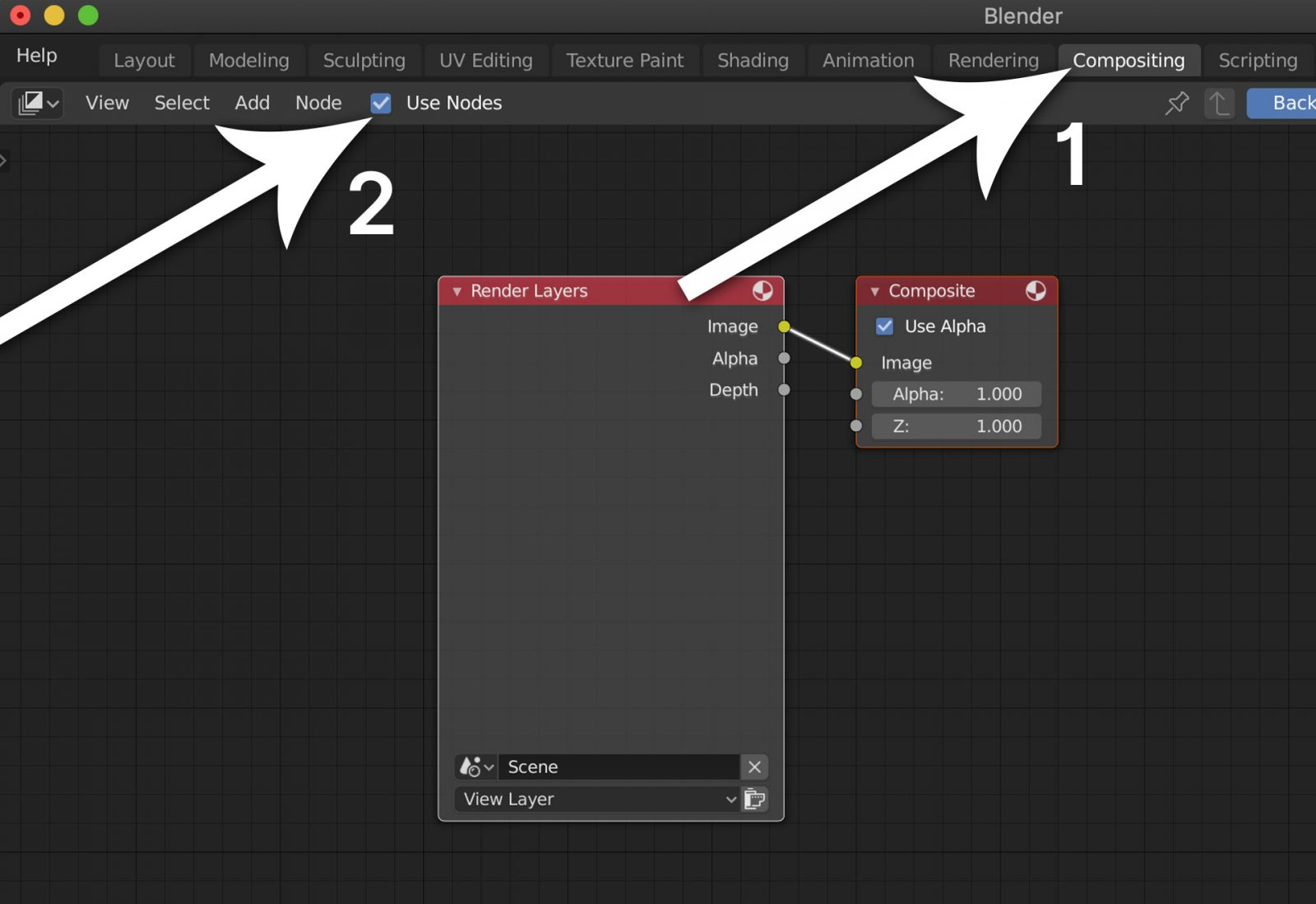 Render a Background Image Using Blender 2.8 - step 9 go to compositing workspace and select use nodes