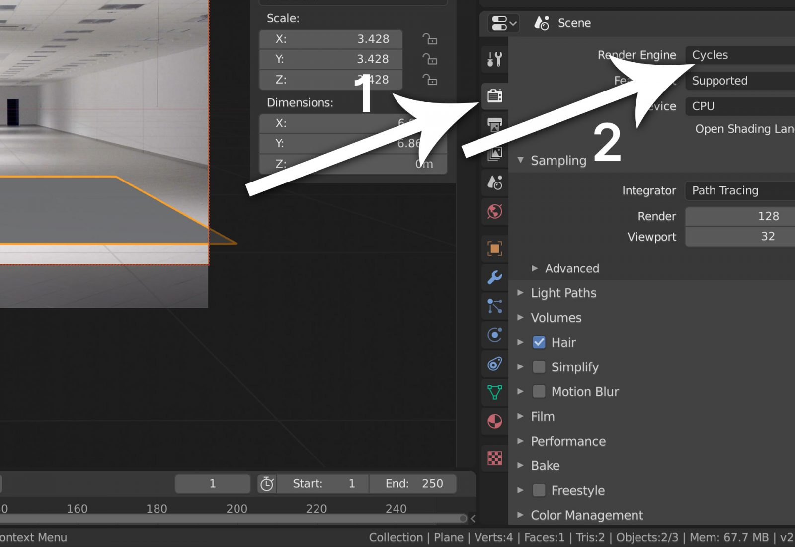 Create Shadow Catcher Object - step 5 select Cycles render engine