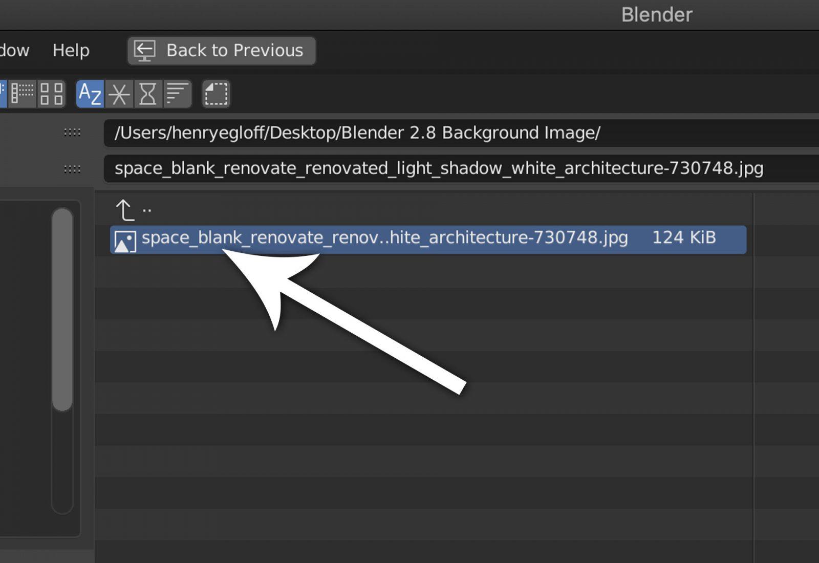 Render a Background Image Using Blender 2.8 - step 5 find and open background image