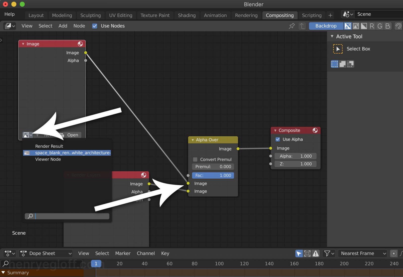Render a Background Image Using Blender 2.8 - step 14 connect image node