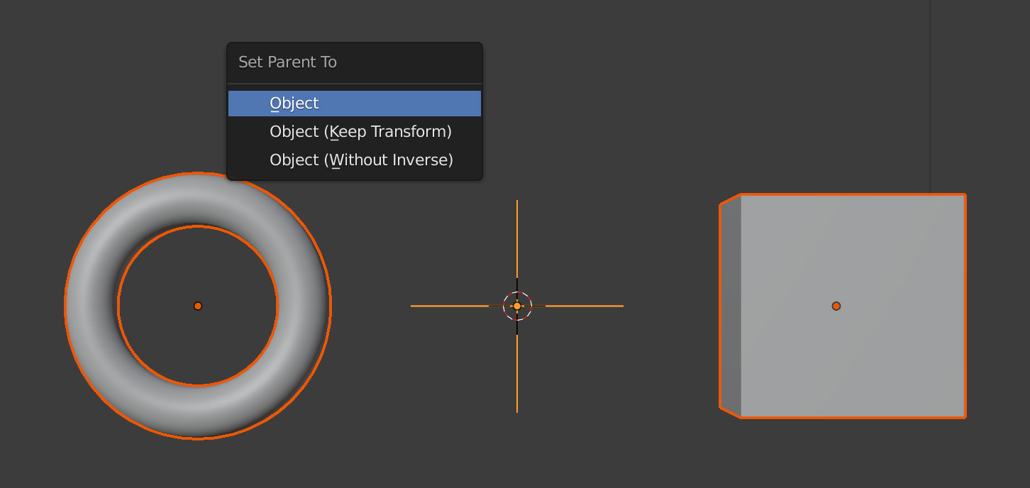 Command-p (Mac) or Control-p (Windows) to parent objects in Blender