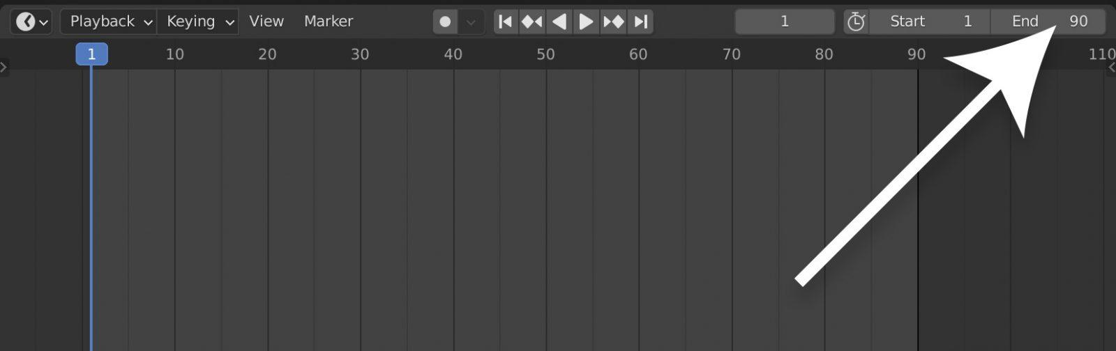 Setting the timeline duration in Blender