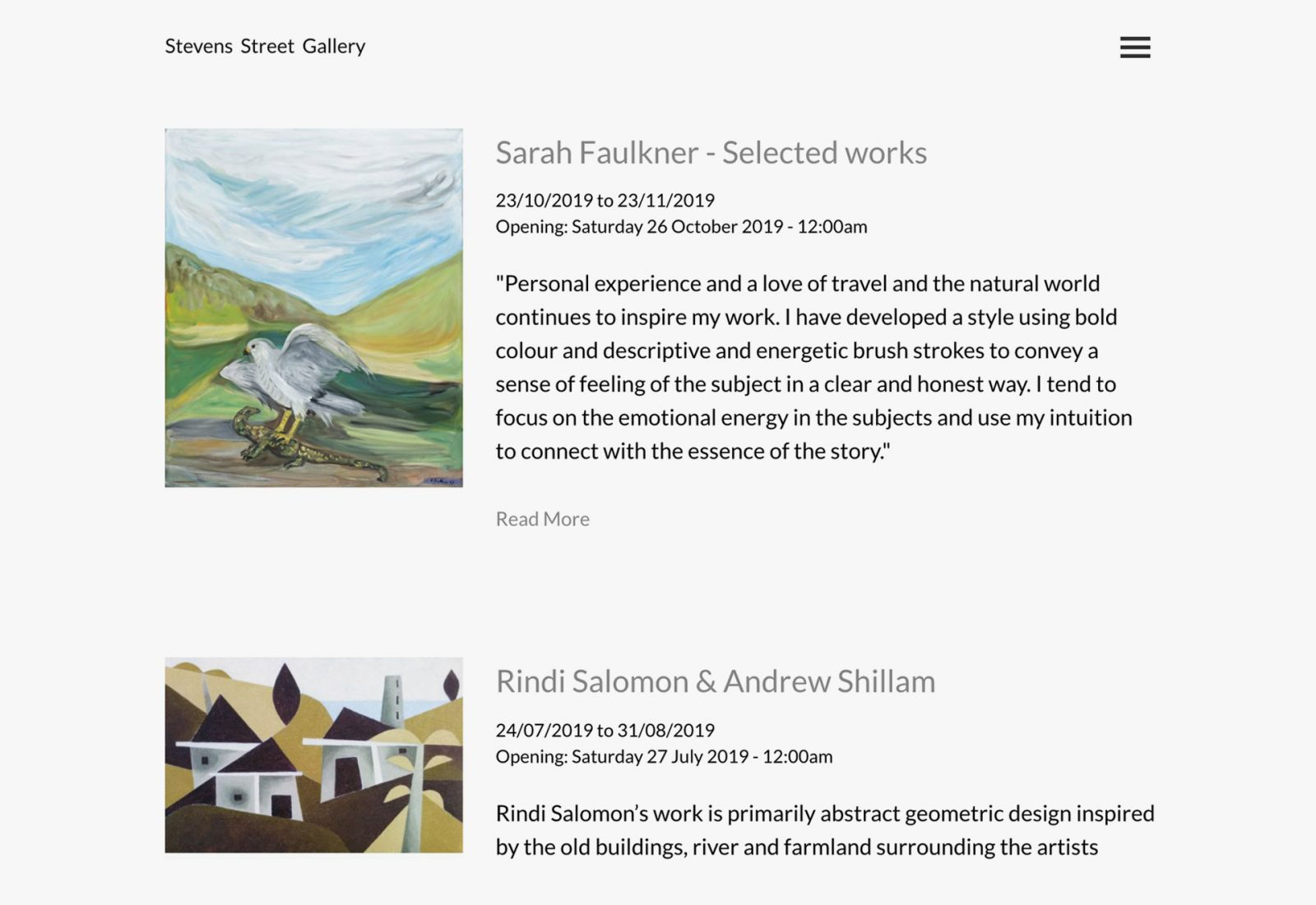 Stevens Street Gallery exhibitions page