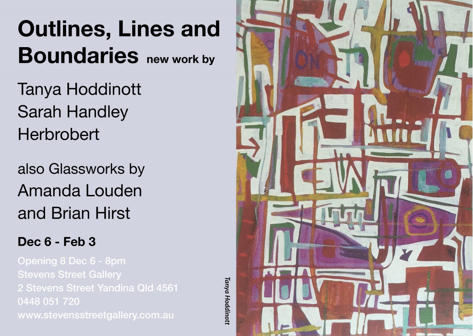 Outlines, Lines and Boundaries exhibition invite.