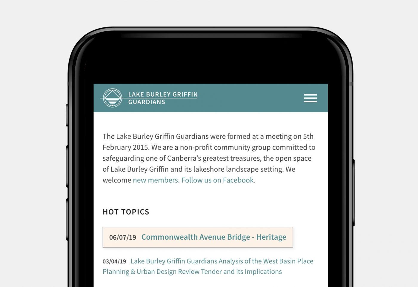 Lake Burley Griffin Guardians article page mobile view
