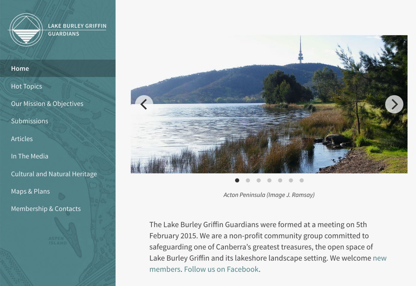 Lake Burley Griffin Guardians home page