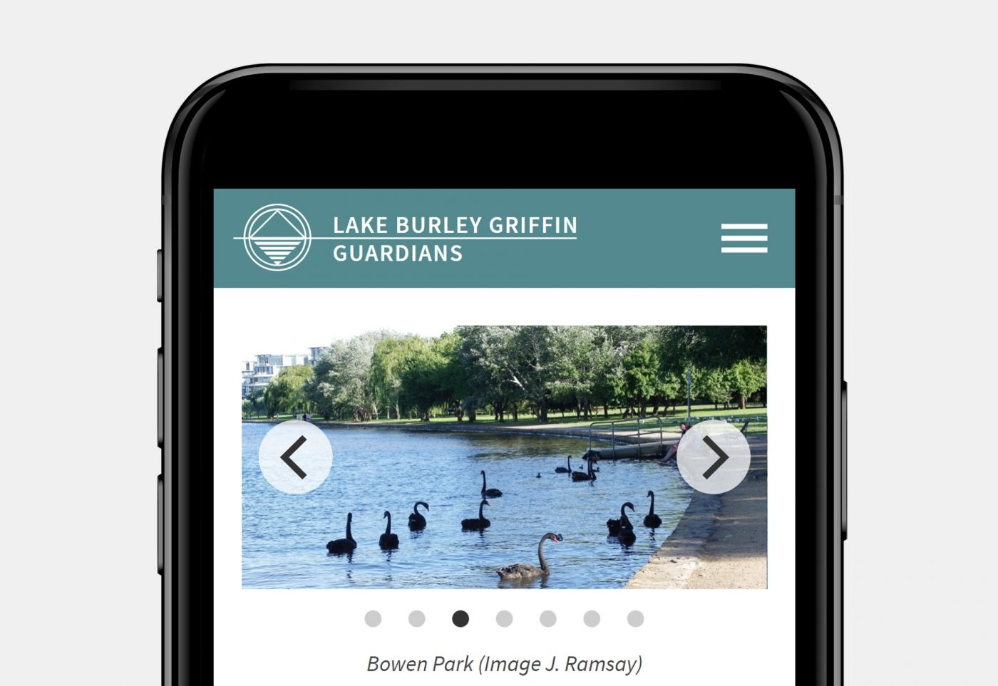 Lake Burley Griffin Guardians home page mobile view