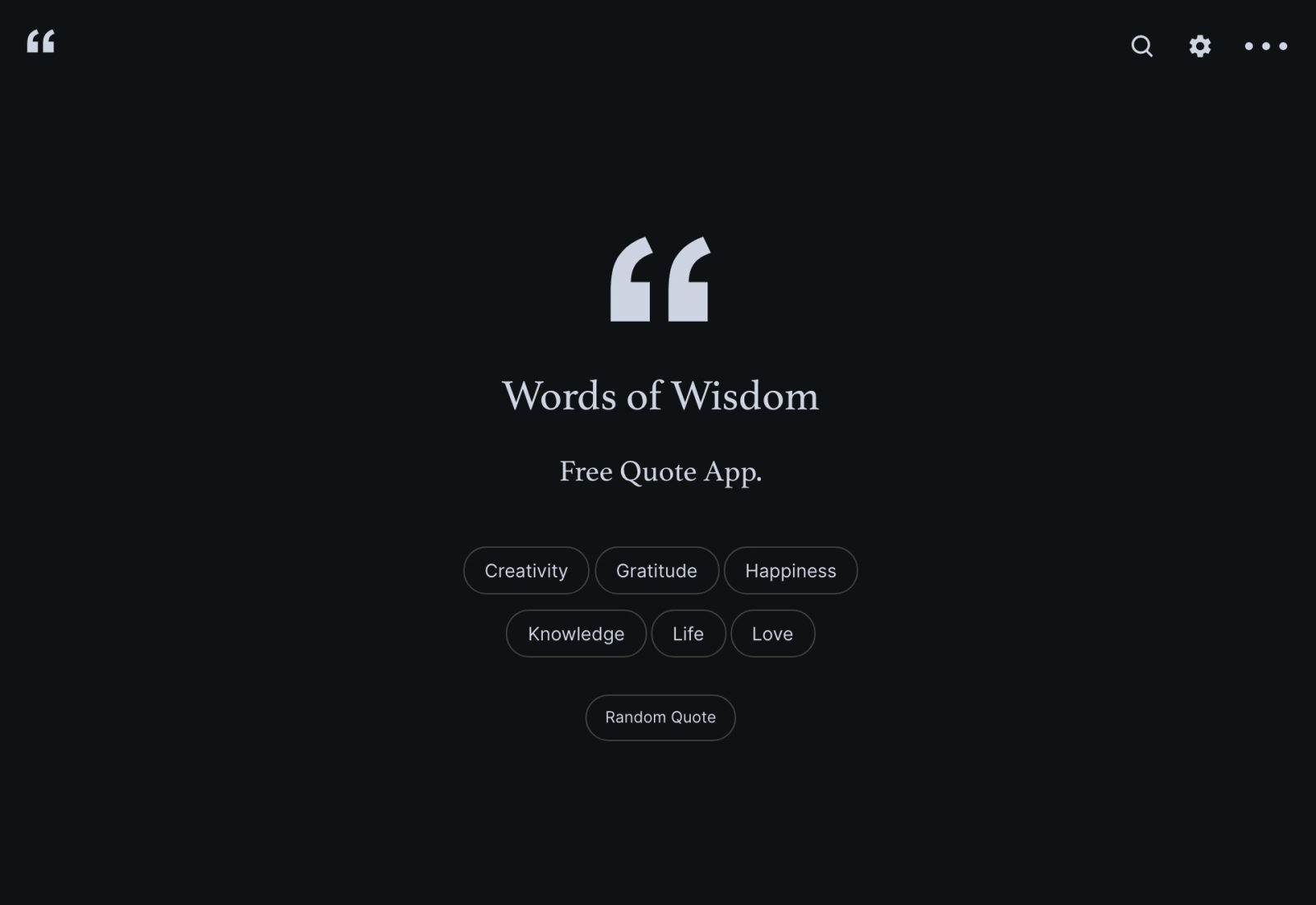 Words of Wisdom - Example Quote Categories